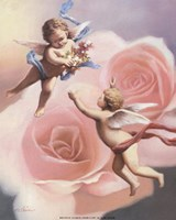 Cherubs' Rose Framed Print