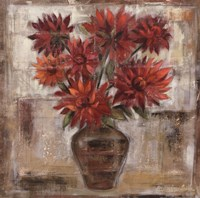 Dahlia's In Bronze Vase Framed Print
