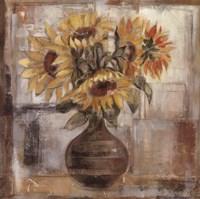 Sunflowers In Bronze Vase Framed Print