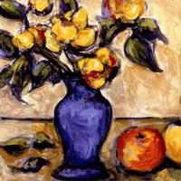 Blue Vase Of Yellow Peonies Fine Art Print