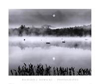 Lake Flower Moonset Framed Print