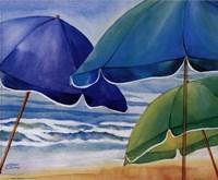 Seaside Umbrellas Framed Print