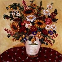 Rooster Vase Floral Fine Art Print