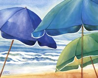 Seaside Umbrellas Framed Print