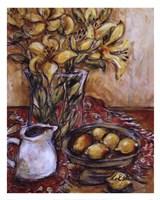 Lemons And Lilies Framed Print