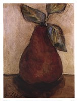 Red Pear On Beige Framed Print