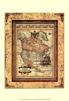 Crackled Map Of North America Fine Art Print