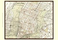 Sepia Map Of New York Framed Print
