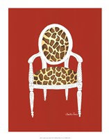 Giraffe Chair On Red Framed Print