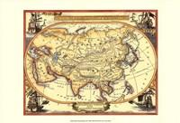 Small Nautical Map Of Asia Fine Art Print