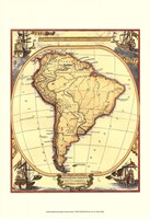 Small Nautical Map Of South America Fine Art Print