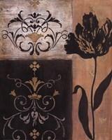 Tulip Silhouette - black flower Framed Print