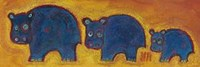 Famille Hippopotame Bleus Fine Art Print