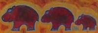 Famille Hippopotame Rouges Framed Print