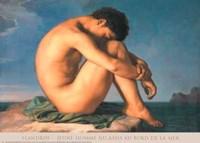 Jeune Homme nu Assis au Boro de la Mer Fine Art Print