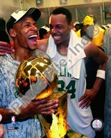 Ray Allen & Paul Pierce, Game Six of the 2008 NBA Finals With Trophy, In the Locker Room #34 Fine Art Print