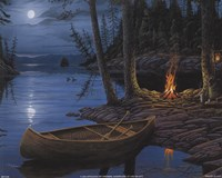 Camp Fire Canoe Fine Art Print