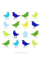 Animal Sudoku in Blue I Framed Print