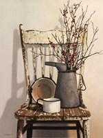 Watering Can on Chair Framed Print