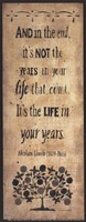 The Years in Your Life Framed Print