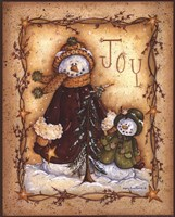 Snow Folk Joy Framed Print