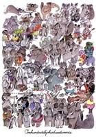 100 Elephants and a Mouse Fine Art Print