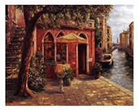 Cafe with Stairway,Venice Framed Print