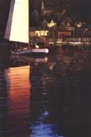 New England Sunset Sail Framed Print