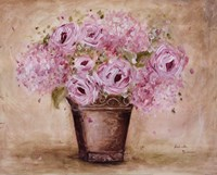 Classic Pink Roses And Hydrangeas Fine Art Print