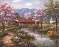 Covered Bridge in Spring Fine Art Print