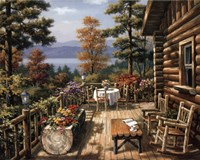 Log Cabin Porch Fine Art Print