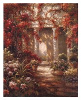 Crimson Courtyard Fine Art Print