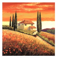 Sunset Over Tuscany II Fine Art Print