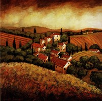 Tuscan Hillside Village Fine Art Print
