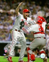 Brad Lidge & Carlos Ruiz celebrate winning Game Five of the 2008 NLCS Framed Print