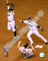 Akinori Iwamura & Jason Bartlett celebrate the final out Game 7 of the 2008 ALCS Framed Print