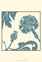 Teal Floral Motif II Framed Print