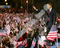 Barack Obama during election night in Grant Park on November 4, 2008 in Chicago, Illinois Fine Art Print