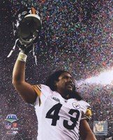 Troy Polamalu celebrates - Super Bowl XLIII - #10 Fine Art Print