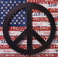American Flag Peace Sign Framed Print
