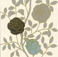 Rose Garden I Gold Fine Art Print