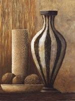 Natural Raffia and Clay I Fine Art Print