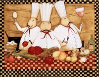 3 Chefs at Work Fine Art Print