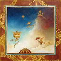 Voyage en ballon - gold Fine Art Print
