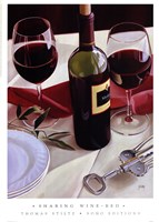 Sharing Wine - Red Fine Art Print