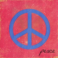 Peace - Blue and Pink Framed Print
