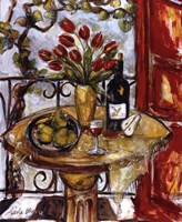 Still Life With Blooming Red Tulips Fine Art Print