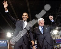 U.S. Senator Edward Kennedy & Senator Barack Obama at a 2008 Campaign Rally Fine Art Print