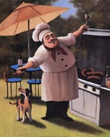 Barbecue Chef and Dog Fine Art Print