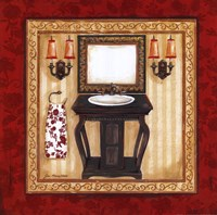 Red Demask Bath II Framed Print